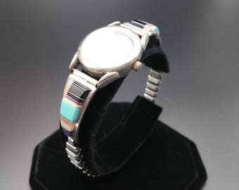 CS Lonjose Sterling Watch Tips Ladies Sugalite Mother of Pearl Zuni Inlay Stretch Band