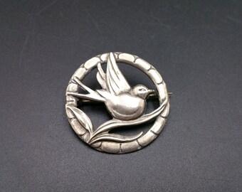 Bird Brooch Vintage Sterling Silver Circle Pin Lovebird