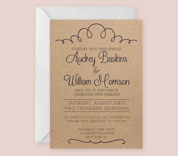 Vintage Hochzeit Einladung Vorlage für Word oder Seiten | Etsy