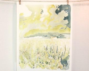 Large Nursery Art, Landscape Watercolor, Dream Big, Bunny Painting