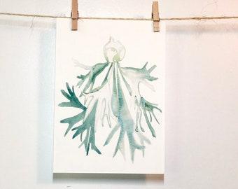 Staghorn Fern, Fern Art, Ferns, Fern Watercolor, plant gift, botanical watercolor, botanical art, garden art, Botanical Illustration, Art