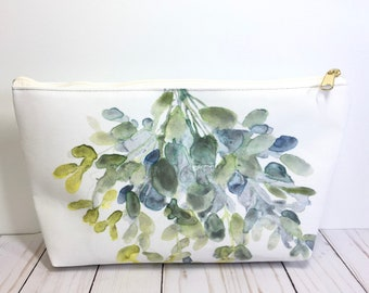 Eucalyptus Pouch, Plant Pouch, Carry All Pouch, Zippered Pouch, Garden Gift, Eucalyptus Bag, Eucalyptus Purse, Plant Lover Purse, Eucalyptus