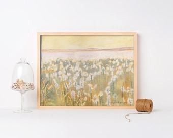 Reclaim, Field Landscape, Wildflower Field, Watercolor Print, Farm Art, Farm Landscape, Flower Painting, Field, Large Landscape, Meadow Art