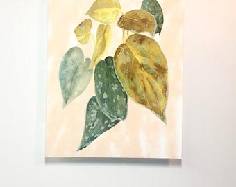 Philodendron Watercolor, Watercolor Plants, Botanical, House Plant Art, Garden Gift, Plants, Garden Home Decor, Botanical Art, Philodendron