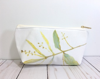 Olive Pouch, Plant Art Bag, Carry All Pouch, Zippered Pouch, Botanical Gift, Olive Branch Bag, Plant Zipper Pouch, Plant Lover Purse