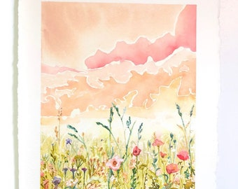 Poppies & Pink Clouds Watercolor