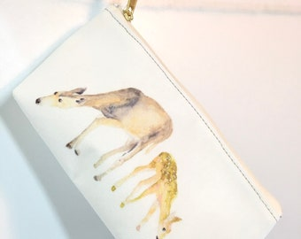 Deer Lover Pouch, Deer Pouch, Carry All Pouch, Zippered Pouch, Mother Day Gift, Animal Bag, Deer Family, Fawn Bag, Mommy Deer, Doe and Fawn