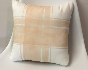 Pink Plaid Pillow, Fall Pillow, Plaid Pillow, Artist Pillow, Throw Pillow, Pillows, Watercolor Plaid