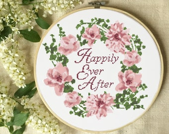 Wedding cross stitch pattern, floral wreath modern counted cross stitch chart, happily ever after quote,flower,  love, anniversary, pdf, diy