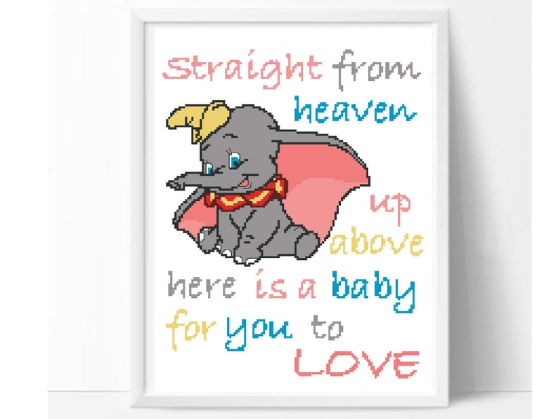45f6d0d358 Disney Dumbo quote baby cross stitch pattern modern easy