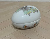 Rochard Limoges France Porcelain butterfly egg trinket box