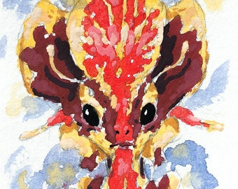 Original Gouache Illustration 4.5x6 Kight of the Winter Sun