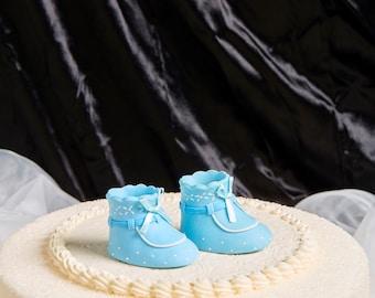 Pair of Blue Baby Booties Personalised Edible Cake Topper set 2
