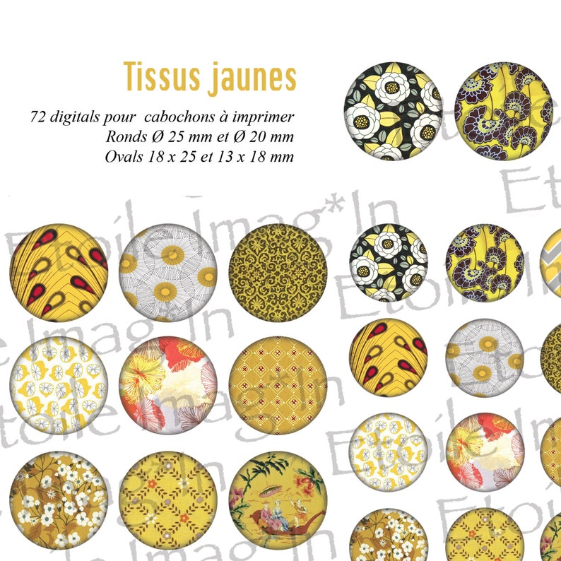 to print for cabochons Plank 72 digital Yellow fabrics