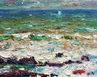 """IMPRESSIONIST ART, Original Oil Painting """"Storm"""" by A.Chebotaru, Seascape, Ocean landscape, Bay of Biscay, Basque Country, Plein Air artwork"""