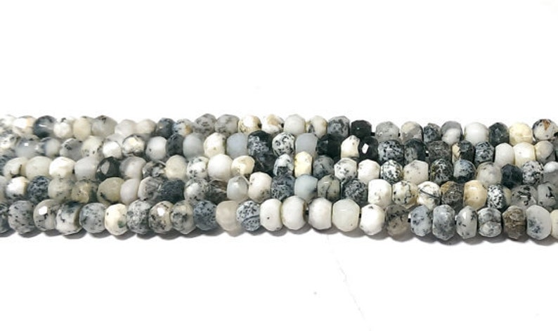natural opal beads Dendrite opal faceted rondelle beads opal loose gemstone beads necklace