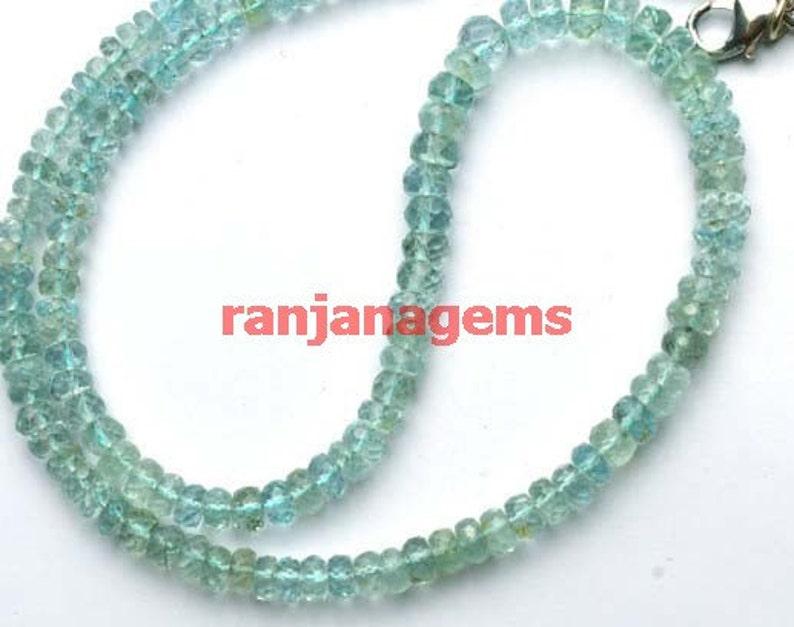 AAA Natural Multi Aquamarine Faceted Rodelle Beads 4mm  Aquamarine Loose Gemstone 13inch strand