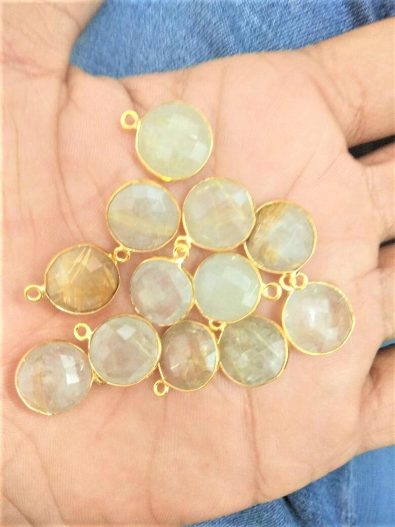 Rutile quartz charms connecctor ON SALE-Natural AAA 10pices Golden rutile quartz  12mm coin faceted brass gold plated charms connector