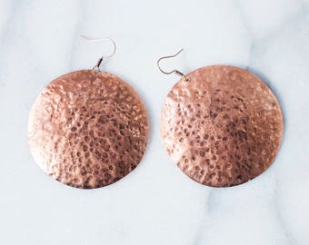 Round Textured Copper Earrings