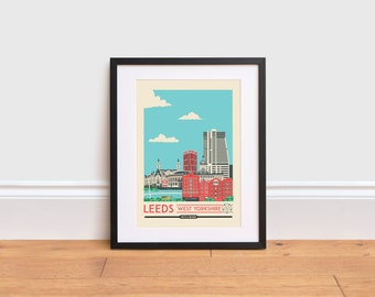 Leeds Print - Leeds poster - Leeds Wall Art Print - England Poster | Travel Poster