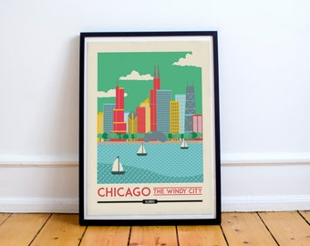Chicago Print - Chicago poster - Chicago Wall Art Print - USA Poster | Travel Poster