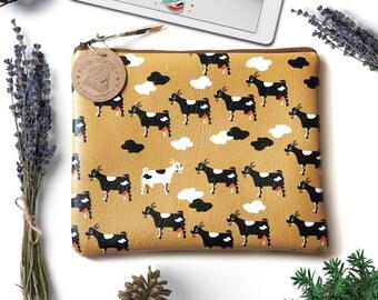 Gift for vegan teachers. Handmade vegan handbag with happy goat pattern. Ipad case for vegans. Vegan leather pouch. Animal print clutch.