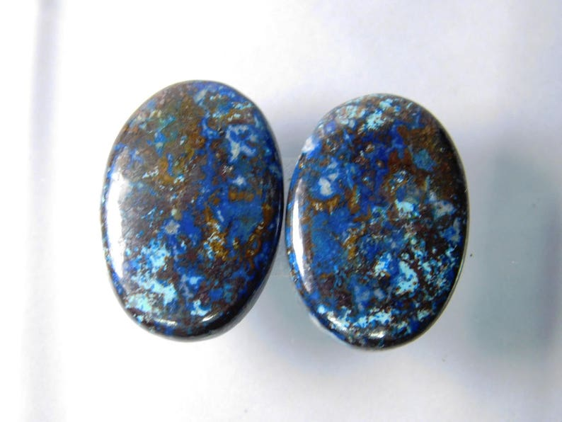 Matched pair Shattuckite Azurite gemstone R-2556 Natural Azurite pair loose gemstone 43 Cts Natural Shattuckite Azurite cabochon