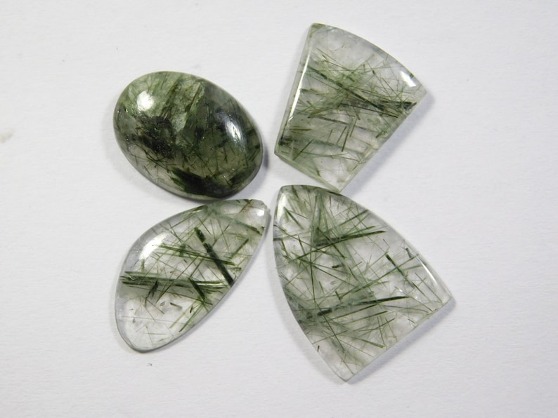 Top Tourmalinated Rutile Quartz Loose Gemstone For Jewellery 26 Cts 4 Pcs Natural Green Rutilated Tourmalinated Quartz Cabochon R-7674