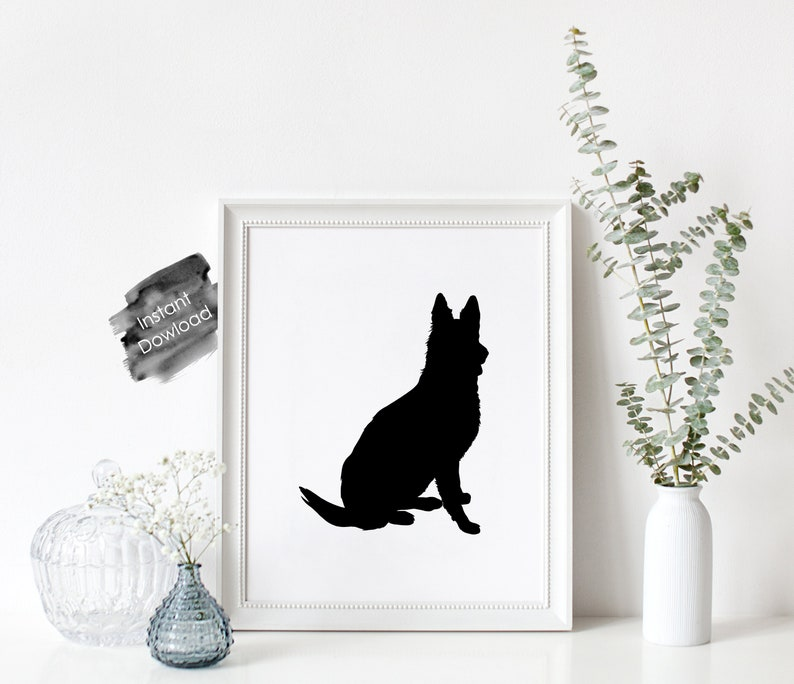 photograph about No Pets Allowed Except Service Animals Sign Printable titled German Shepherd Doggy Silhouette Printable, Minimalist Quick Down load Wall Artwork