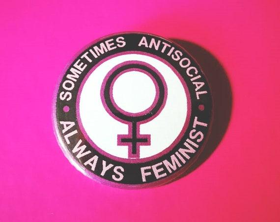 Metal plate/Pin 38 mm standard size. Always Feminist