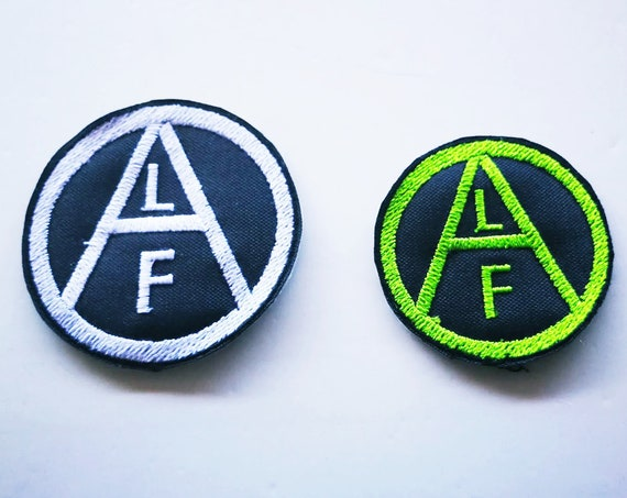 Embroidered patches in Hilo Animal Liberation Front Vegan 2 sizes color to choose