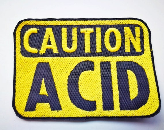 Embroidered patches in thread Caution ACID 10x7cm