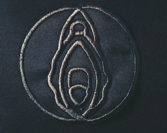 Black on Black Embroidery. Patches Embroidered on clitoral thread 9 cm