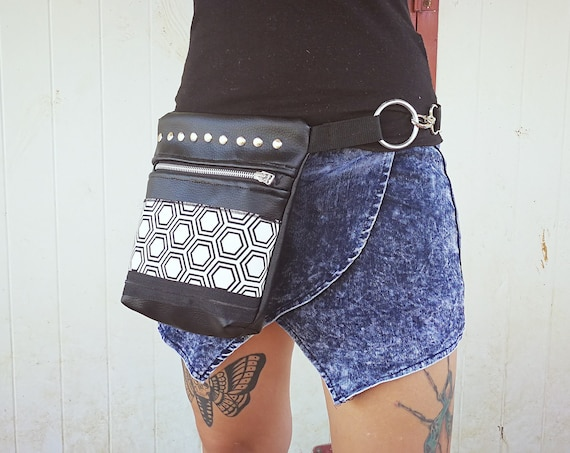 Synthetic Leather Bag (NO ANIMAL LEATHER) with Geometric Bee Panel Print. 1 Pocket Metal Zipper and Rivets