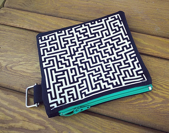 Wallets / mini cotton bag. Maze. 100% handmade printing and making. Nylon Zipper Closure