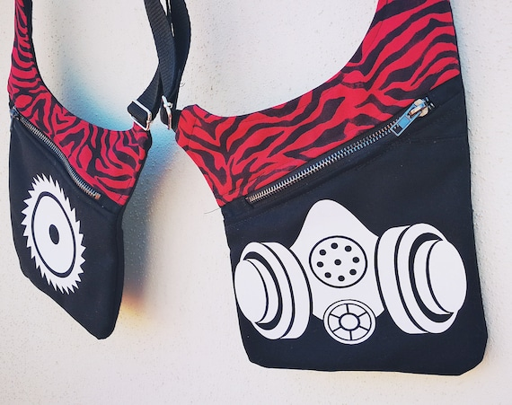 Gunmen Red zebra fabric with images applied in eco-friendly textile vinyl. Gasmask and saw.  Holster Bags 2 Pockets