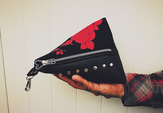 Triangle Pouch. Triangular Leather Bag (NO ANIMAL LEATHER) with handcrafted rose and leopard print and rivet details.