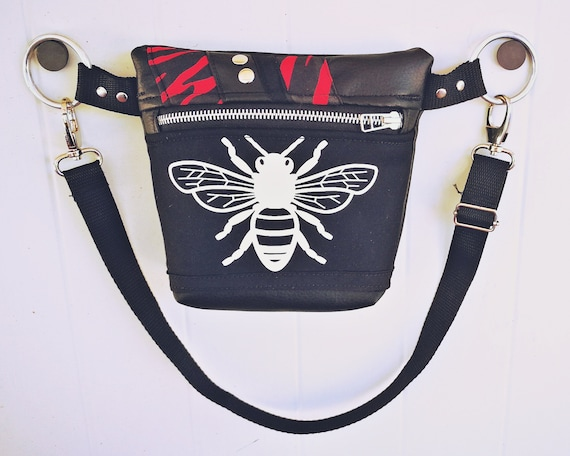 Synthetic leather bag with Zebra and Bee Print (various colors to choose from). Metal zipper and decorative rivets