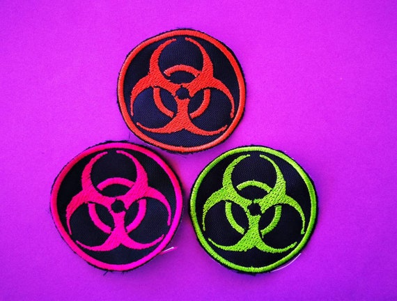 Biohazard Embroidered Patch. Thread color to choose. Size 2 options 5 or 10 cm.