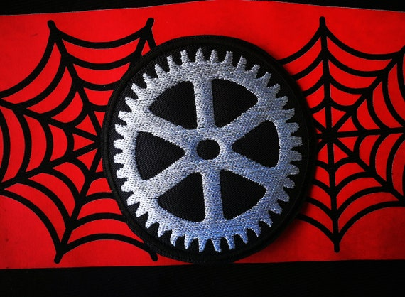Gear Embroidery Patch. Bright greyish white thread. Size 9 or 16 cm.