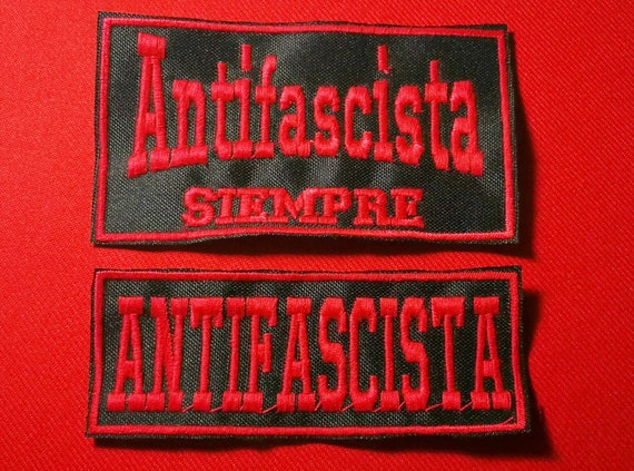 Embroidered patches on anti-fascist thread anti-fascism iron or sew size 10cm long choose color yarn