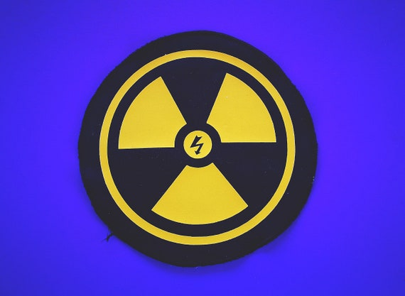 New Biological Danger design! Yellow Print. Textile Ecological Vinyl Patches. Trimmed edges (non-fraying)