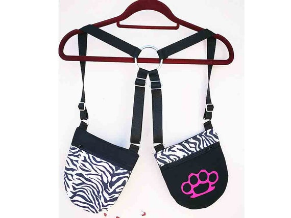 Holsterbags Pistol cartons 2 pockets 4 zebra fabric and screen printing regulators