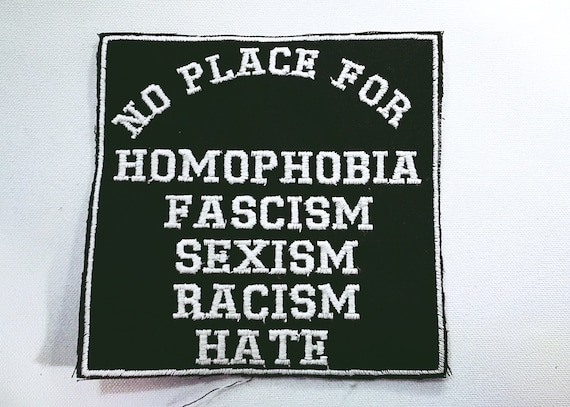 Choose thread color: White, Red or Yellow. Embroidered patch no place for homophobia. 10cm
