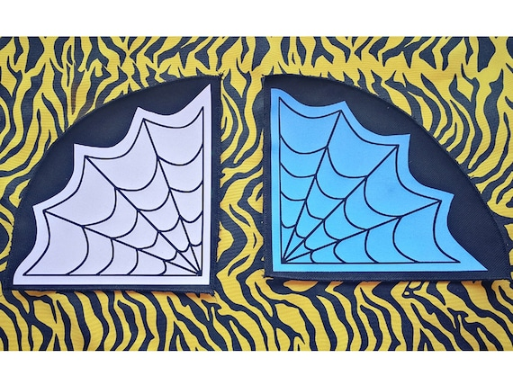 New Design! Cobwebs Color: White, Red or Sky Blue. Eco-Vinyl Textile Patches. Remeshed Edges (not fraying)