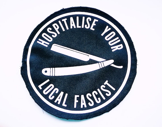 Patch Vinyl Ecological Textile Hospitalise Your Local fascist approximate size 14cm. Edges remeshed