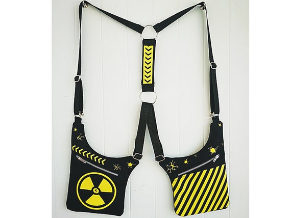 Radiation Hazard Carboxes. 100% handmade print. HolsterBags 2 Pockets