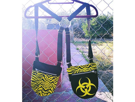 Holsterbags 2-pocket holster with metal zipper. 4 regulators. Yellow zebra fabric and biohazard symbol applied to vinyl.