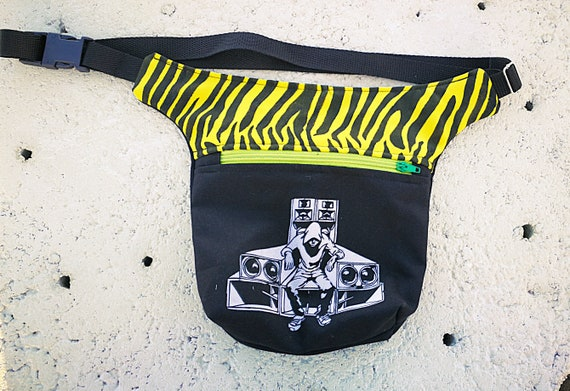 Waist and handbag 2 large pockets. Yellow zebra fabric with Tekno screen printing.  HipBag