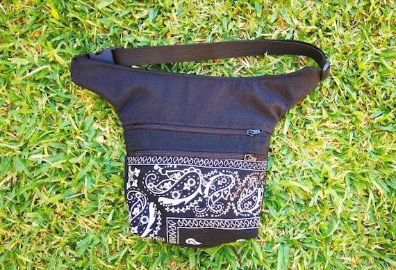 Waist bag with 2 wide pockets. Fabric Black Bandana 2 zippers